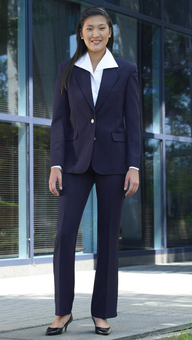 Update your wardrobe with a sweet pant suit! Deep navy and a classic silhouette blend to create a piece that epitomizes sophistication. Pair it with pointed heels for a look that's extra sharp.